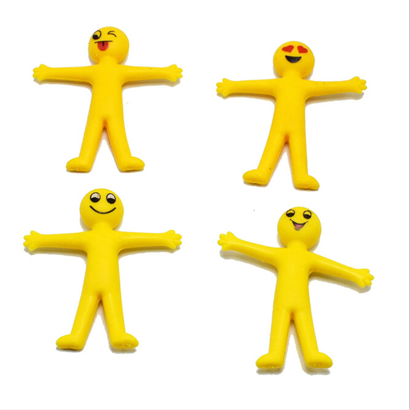 4.8 Cm X 4.5 Cm 5 Pieces/lot TPR Soft PlasticSmall Yellow Man Expression Creative  Can Pull The Little Doll Capsule Toys