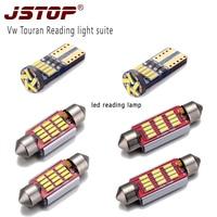 JSTOP 6piece/set Vw Touran high quality led reading light canbus 12VAC bulbs w5w t10 lamps c5w 36mm 41mm festoon led dome bulbs