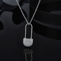 [MeiBaPJ] Real S925 Sterling Silver Pin Pendant Necklace for Women Fine Party Jewelry Gift Box