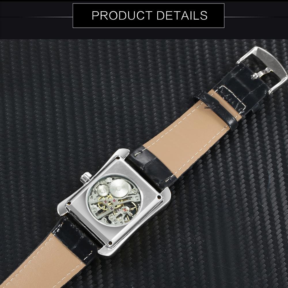 Fashion Unisex Women Watches WINNER Top Brand Luxury Skeleton Mechanical Tonneau Dial Silver Steel Case Leather Ladies Watches
