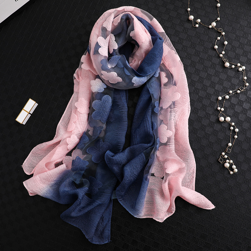2019 New Fashion Women Cut Flowers Hollow Lace Gradient Silk Scarf Spring Shawls And Wraps Towel Femme Beach Sjaals