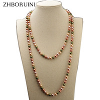 ZHBORUINI 2017 Fashion Long Multilayer Pearl Necklace Mother Pearl Shellfish Necklaces Women Necklace Jewelry For Women