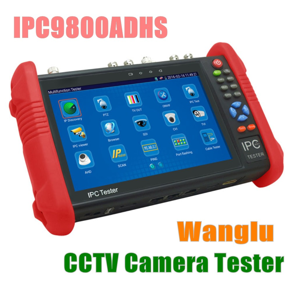 DHL Free IPC9800ADHS 7 Inch 4MP IP Camera Tester 8MP TVI CVI AHD SDI CVBS CCTV Tester Monitor with WIFI PTZ Control PoE HDMI out 4 3 touch screen ip camera tester monitor poe test cctv tester wifi ptz controller hdmi onvif with cvi tvi ahd sdi ipc4300adhs