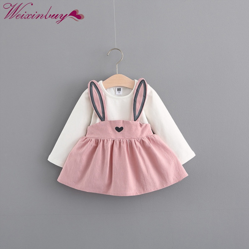 2018 Winter Autumn Baby Girl Dresses Girls Long Sleeve Dress Cute Rabbit Print Princess Vestidos Hot Sale M1