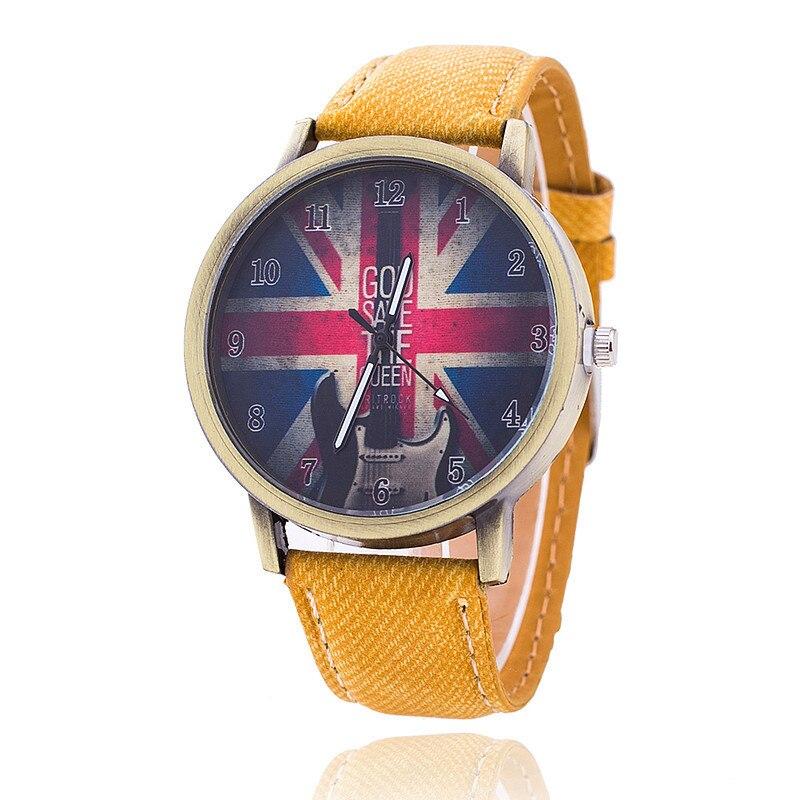 Fashion Brand Quartz Watches Union Flag Pattern Cartoon Watch Women Casual Vintage Leather Girls Kids Wristwatches Gifts Clock