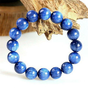 Genuine Natural Blue Kyanite Gemstone Crystal Stretch Round Bead Natural Stone Bracelet 13mm Rare Big Size Cat Eye Stone AAAAA