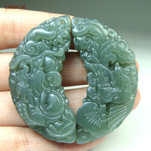 CYNSFJA Real Certified Natural Hetian Jade Amulets Dragon Phoenix Pendants Green High Quality Hand Carved Wonderful Gifts