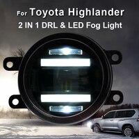 2014 ON For Toyota Highlander led fog lights+LED DRL+turn signal lights Car Styling LED Daytime Running Lights LED fog lamps