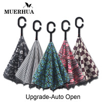 MUERHUA Reverse Umbrella Automatic Open Double Layer Print Inverted Windproof C Hands Large Car Umbrellas For