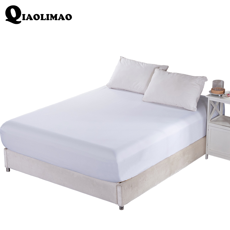 New 100% Polyester Fitted Sheet Solid Color Mattress Cover Four Corners With Elastic Band Bed Sheets Size <font><b>150*200</b></font> CM 180cm*200cm image