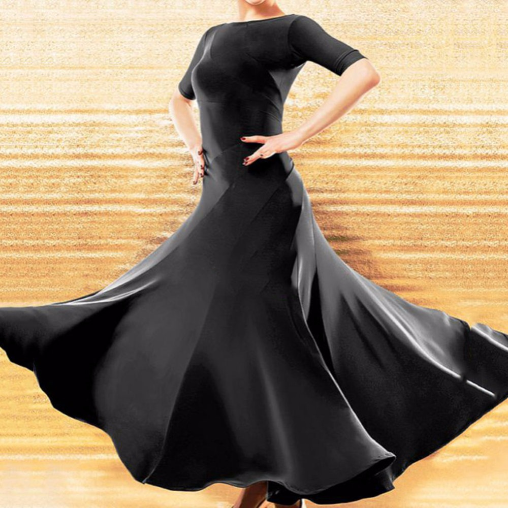 New Arrival Ballroom Dance Dress Black Color Plus Size Modern Garments Waltz Standard Match Competitive Elegant Dresses Q5053-in Ballroom from Novelty & Special Use    2