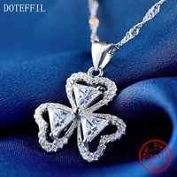 925 Silver Women Necklace Fashion Charm Heart Necklace 100 Sterling Silver High Quality AAA Zircon Luxury