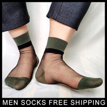 Thin Sheer Mens TNT Socks Glitter Gentlemen High quality Sexy Gay formal dress suit socks Hose Business