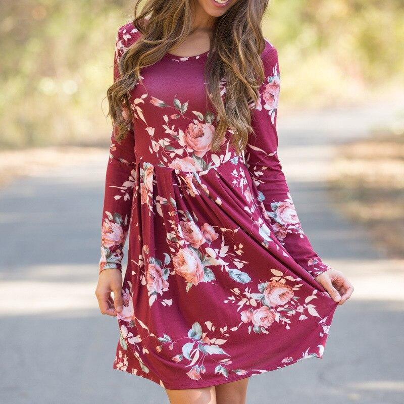 Floral Print Women Dresses 2018 New Arrival Long Sleeve Autumn Casual Dress Boho Beach Dress Plus Size XXL Vestidos de fiesta