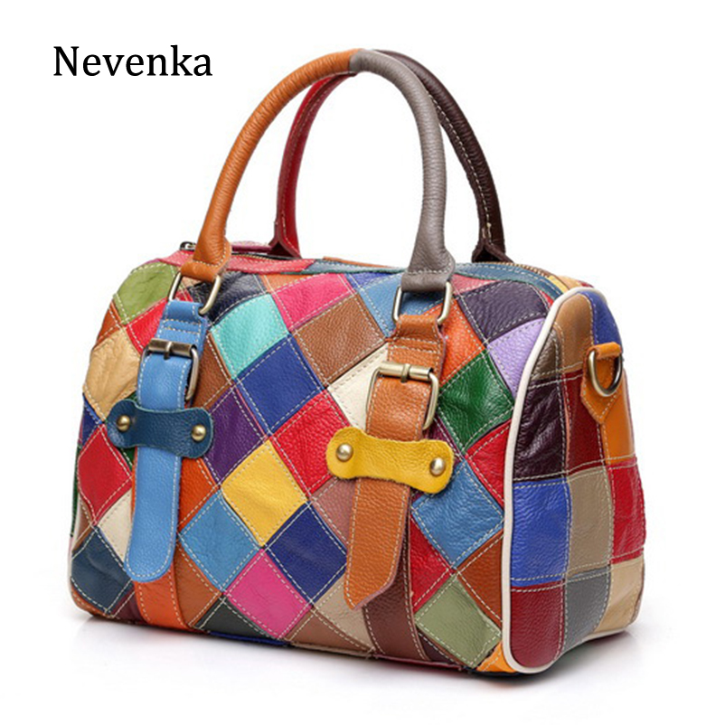 Nevenka Genuine Leather Travel Bag Women Large Tote Bag Female Top handle Patchwork Waterproof Travel Duffle