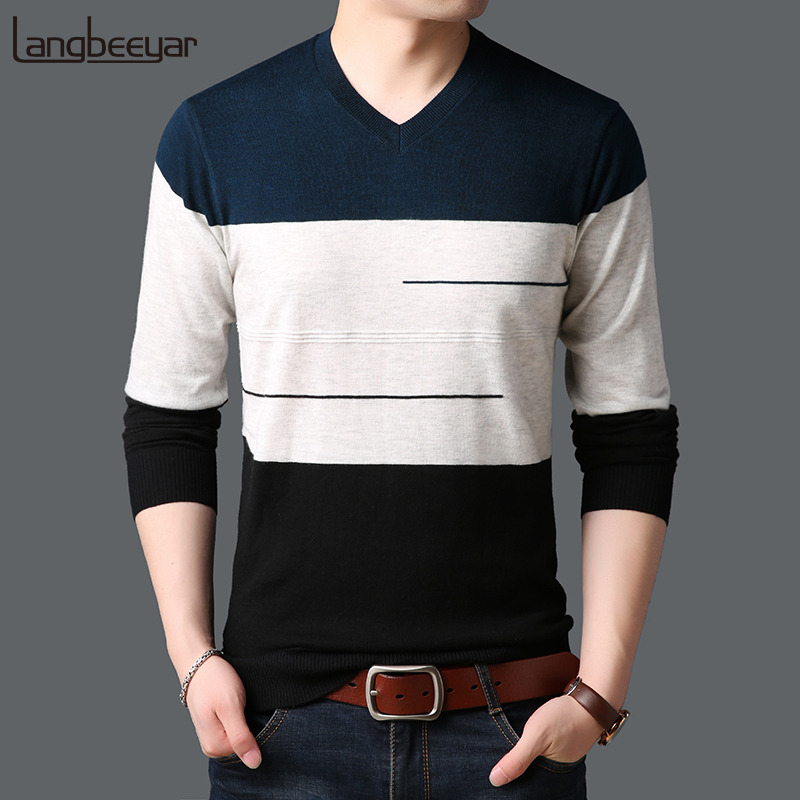 2019 New Fashion Brand Sweaters Mens Pullovers V Neck Slim Fit Jumpers Knitwear Winter Korean Style Striped Casual Clothing Men Curing Cough And Facilitating Expectoration And Relieving Hoarseness