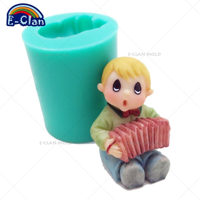 Akordion baba gyertya penész torta díszítő eszközök szappan formák torta formában sütés eszköz fiú csokoládé penész sütemény eszközök S0482BB25