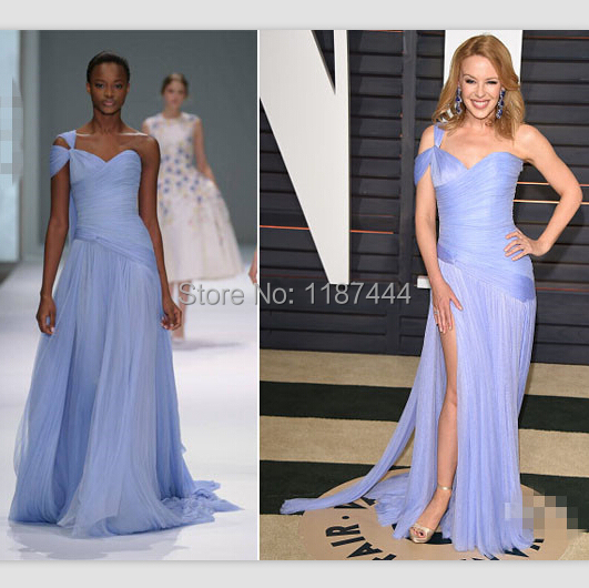 Kylie Minogue light blue gown 2015 Vanity Fair Oscar Party red ...