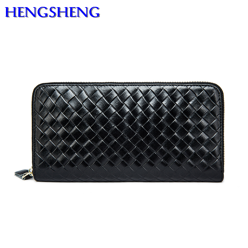 Hengsheng top quality genuine wallet for men long wallets by cow font b leather b font