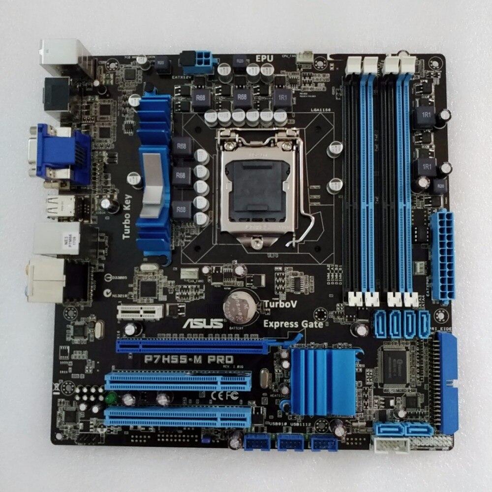 Оригинальный материнская плата Asus p7h55-m Pro LGA 1156 DDR3 VGA, HDMI, dvi USB2.0 16 ГБ H55 рабочего Материнская плата Бесплатная доставка