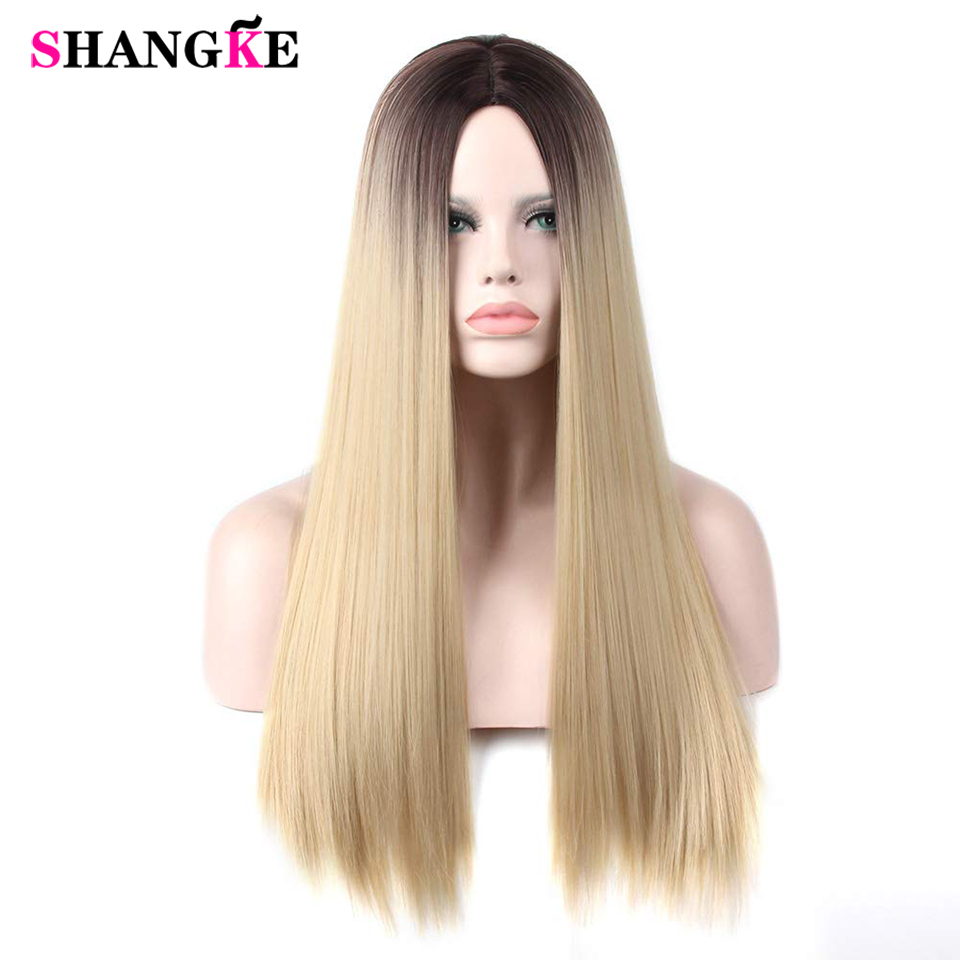 Long Straight Ombre Blond Heat Resistant Synthetic Two Tone Wigs For Women 24 Inch Hair Wig SHANGKE