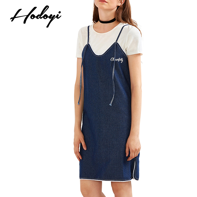 Hodoyi Apparel Blue Sweet Chic font b Women b font Dress Sexy Casual Slim font b