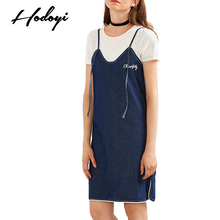 Hodoyi Apparel Blue Sweet Chic Women Dress Sexy Casual Slim Cami Strap Mini Dresses Side Split Embroidery Zipper Denim Dress