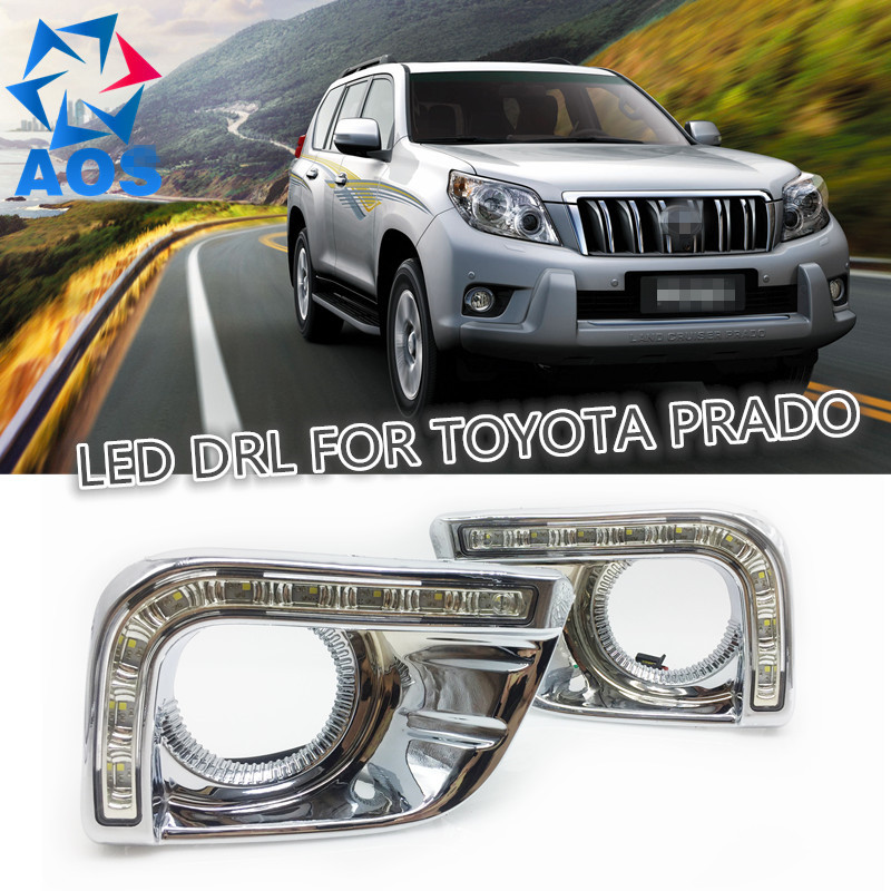 2PCs/set LED DRL Car daylight Daytime Running Light drl For Toyota Prado FJ150 LC150 2010 2011 2012 2013 Land Cruiser 2700/4000 dimmed light function car led drl daytime running lights with fog lamp hole for toyota prado land cruiser fj150 lc150 2010 2013