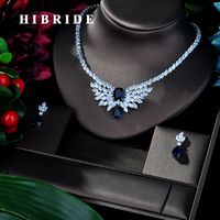 HIBRIDE Exclusive 4PCS Bridal Nigerian Jewelry Set for Women Party, Luxury Dubai Nigeria CZ Crystal Wedding Jewelry Sets N 152