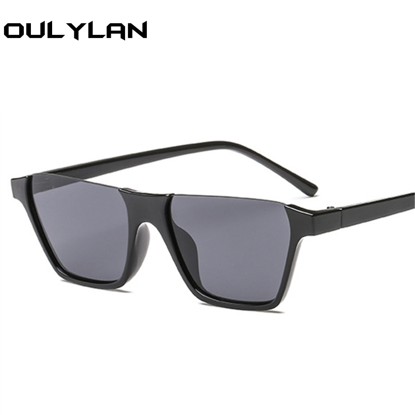 Oulylan Sunglasses Women Half-Frame Flat-Top Luxury Brand Rectangle Shades Men Vintage
