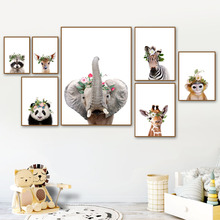 Elephant Deer Zebra Raccoon Monkey Giraffe Wall Art Canvas Painting Nordic Posters And Prints Pictures For Kids Room Decor