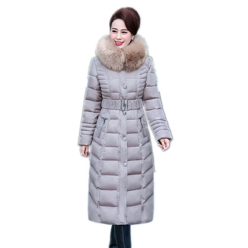 2018 Лидер продаж продвижение полный среднего возраста пожилых Длинная Куртка теплое зимнее пальто толще мать установлены Для женщин хлопок ...