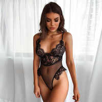BKLD Summer 2018 New Women Mesh Deep V Sexy Backless Bodysuit Spaghetti Strap Transparent Lace Elegant Skinny One Piece Jumpsuit