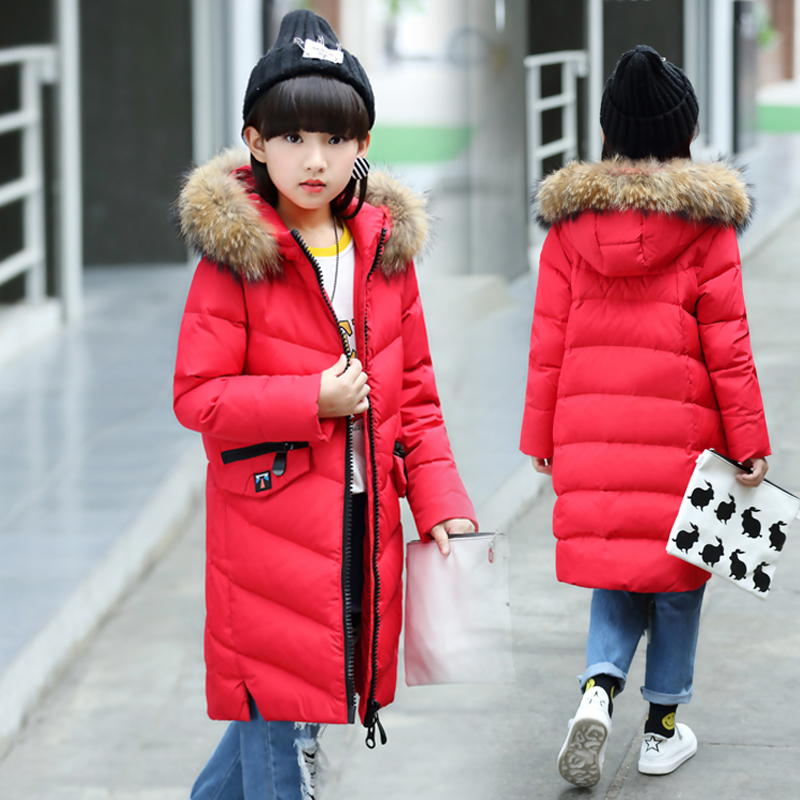 Children Girls Long Duck Down Jacket Coat Fashion Raccoon Fur Collar Winter Outerwear Hooded Thick High Quality For 8- 9 10 12T mioigee girls fashion fur collar winter outerwear hooded thick children girls long duck down jacket coat high quality