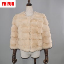 2019 New Autumn Winter Real Rabbit Fur Coat Lady Quality Real Natural Rabbit Fur Coat Women Short 100 Real Rabbit Fur Overcoat cheap Double-faced Fur Real Fur YH-FUR-041808 Thick (Winter) REGULAR Full Pelt O-Neck Nine Quarter Double Breasted Striped Casual