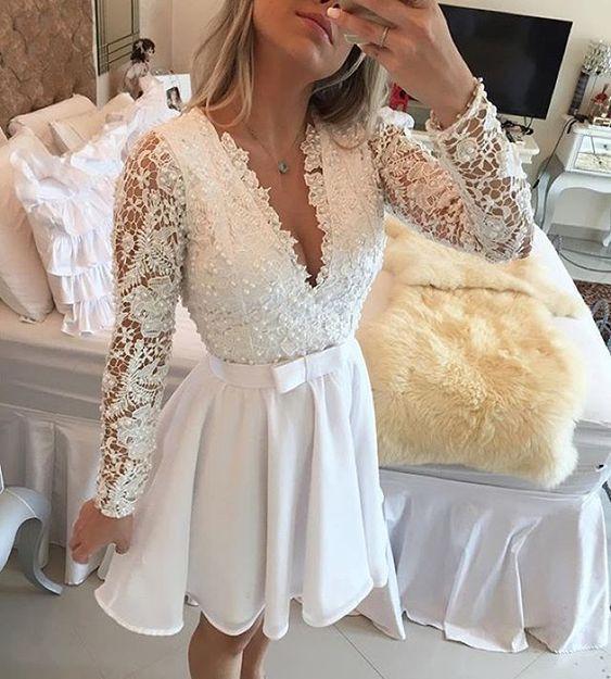 Plus Size White Long Sleeve Short Evening Prom Dress 2019 Cocktail Dresses