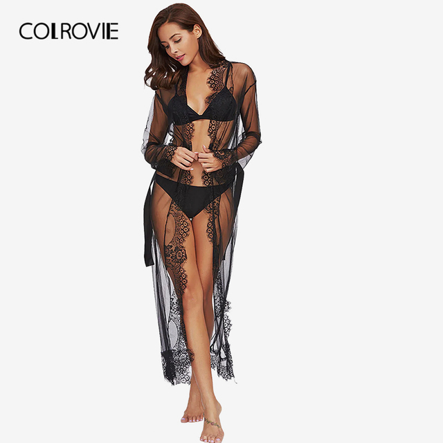COLROVIE Eyelash Lace Trim Plus Size Mesh Robe With Belt Black Long Sleeve Ankle-length Kimono Blouse Women Sexy Sleepwear