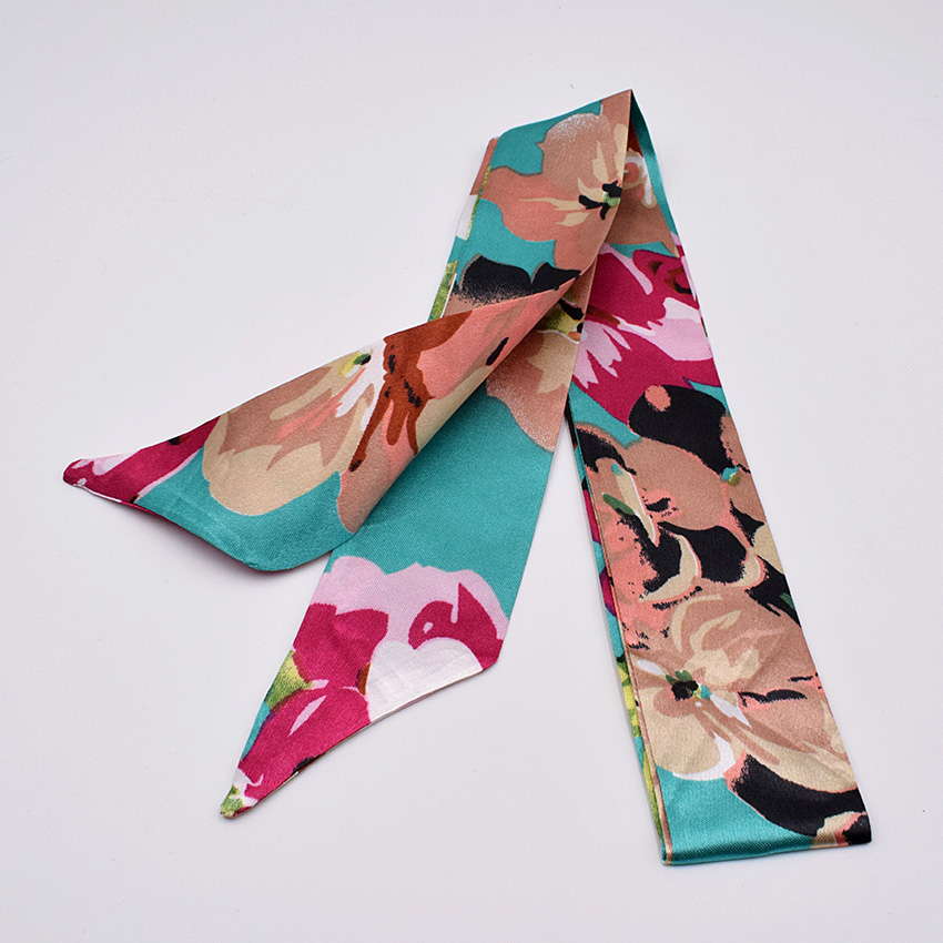 New Print Flower Handle Bag Ribbons Brand Fashion Head Scarf Small Silk Scarf For Women Small Long Skinny Scarves Wholesale