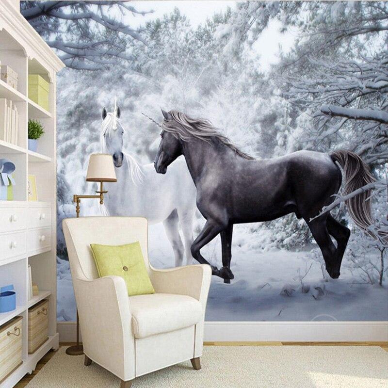 Custom Mural Wallpaper 3D Black And White Horse Snow Landscape Photo Wall Painting Mural Living Room Backdrop Wall Decor Fresco