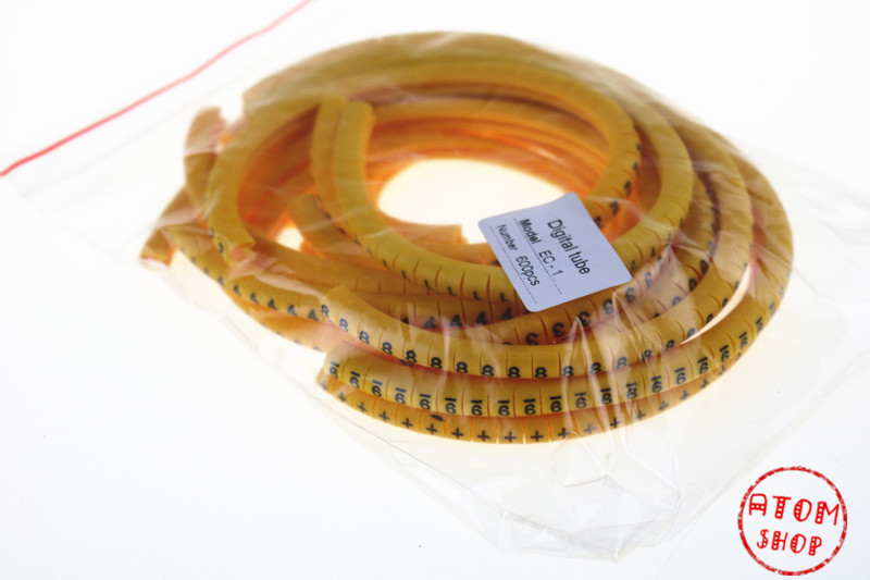 600PCS EC-1 yelow Cable Wire Markers Letter 2.5mm0 to 9,+,- 12number each 50pcs clear Mark tube wire size Cable Wire Markers 1200pcs ec 0 1 5mm2 arabic numeral 1 6 letter pattern pvc flexible print sleeve concave tube label wire cable marker