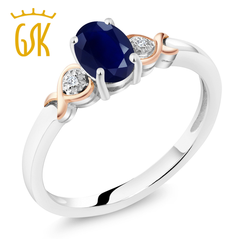 GemStoneKing 925 Sterling Silver and 10K Rose Gold Ring 1 02 cttw Natural Blue Sapphire with