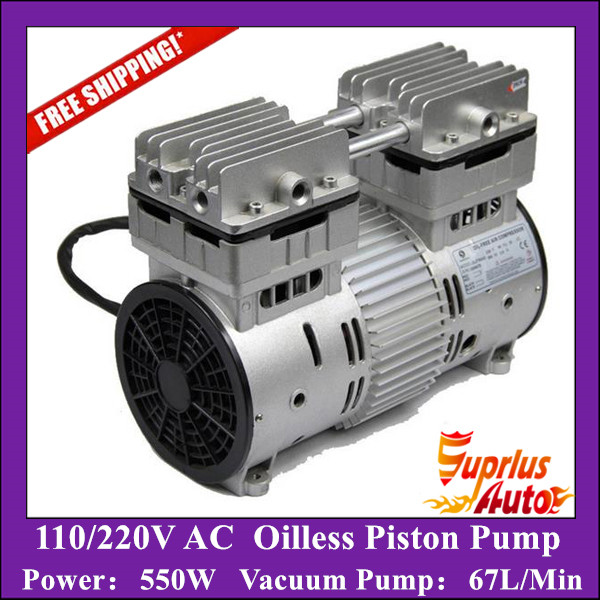 Free Shipping AC 110/220V 550W Double Heads Oilless Piston Compressor Pump with 67L/Min Vacuum Pump - HYW-550 220v ac 50l min 165w oil free piston vacuum pump hzw 165