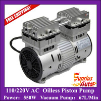 Free Shipping AC 110/220V 550W Double Heads Oilless Piston Compressor Pump with 67L/Min Vacuum Pump HYW 550