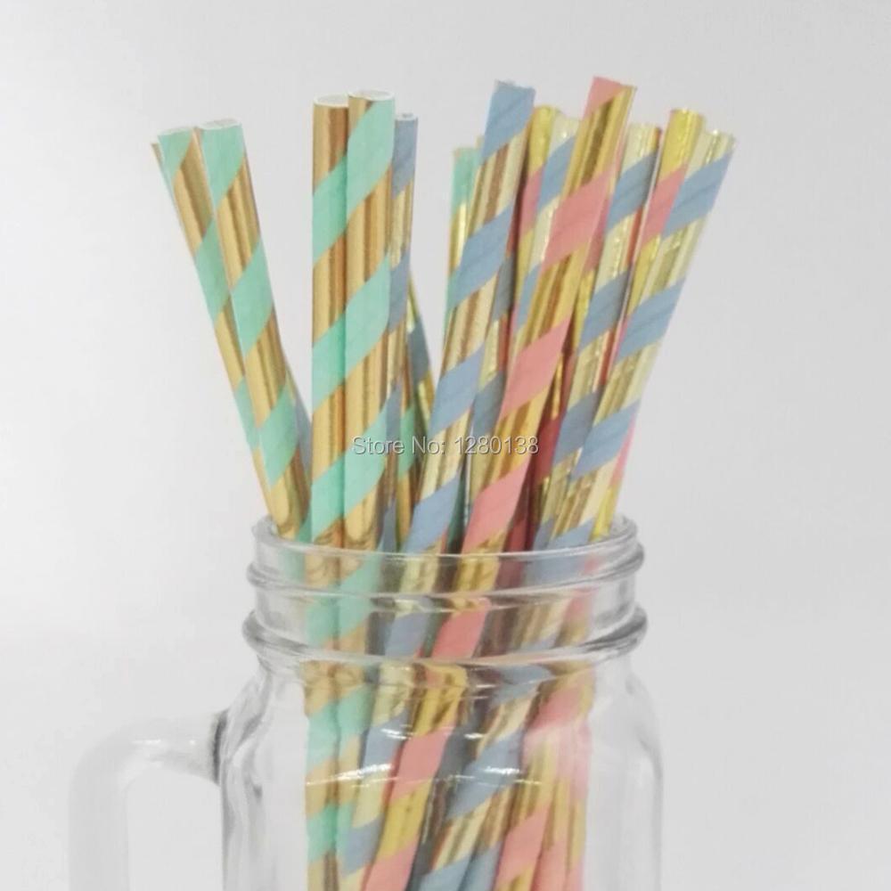 20 Wedding  WHITE /& GOLD  stripe paper straws