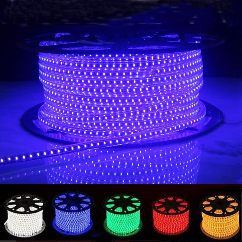 High Brightness Waterproof LED Strip Light AC220V 120Leds/M Flexible Bar Light With EU Power Plug Outdoor Indoor Decorat