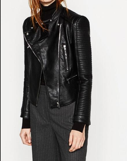2016AW New Fashion Woman Black Faux Leather Effect Cropped Jacket With Long quilted sleeves Pockets with zips Biker Jackets Coat