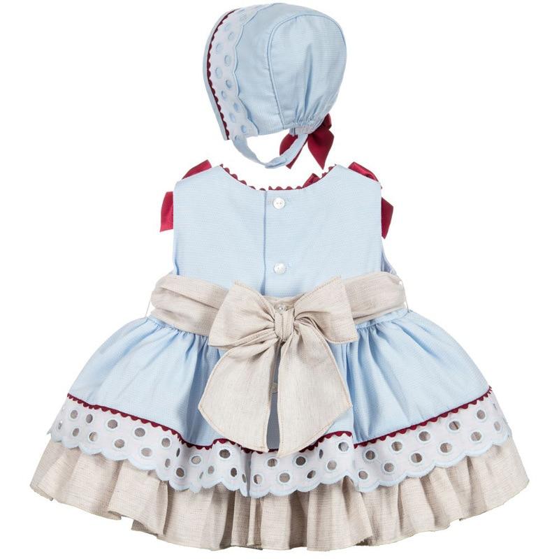 Été espagnol vêtements fille robe Boutique princesse Patchwork arc Vintage robe fête cérémonie vêtements ensemble avec Bonnet G130 - 2