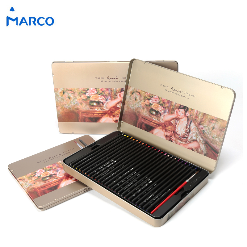 Marco Raffine 24/36/48 Colors Water Soluble Color Pencil Set Iron Box Color Pencils For School Student Artist Art Supplies 3220 marco raffine fine art colored pencils 24 36 48 colors drawing sketches mitsubishi colour pencil for school supplies
