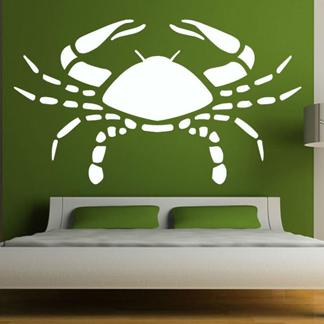 Vinyl Removable DIY Large Crab Wall Stickers White Bedroom Headboard ...