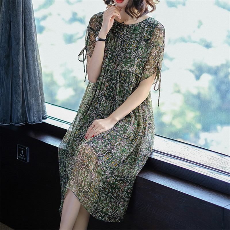 2018 Spring Summer New Brand Vintage Elegant Retro Floral Print Silk Midi Designer Cloth Vestidos Long Women Dress Plus Size